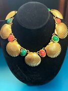 Striking Mimi Di N Faux Coral And Jade Cabochons Large Shells Gold Plate Necklace