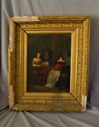 Antique Dutch Oil Painting Oil On Panel The Card Game Framed