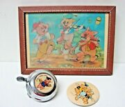Vintage Lot 3 Disney Three Little Pigs Button Bicycle Bell Postcard Wall Hanging