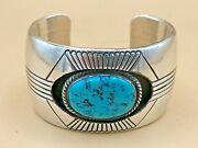 Vintage Native American Shadow Box Silver Bracelet With Turquoise Stone