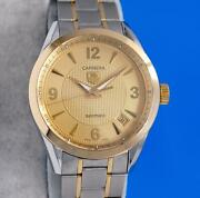 Menand039s Tag Heuer Carrera 18k Gold And Ss Watch - Calibre 5 - Gold Dial - Wv2251