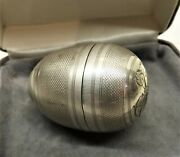 Antique Victorian Silver Egg Shaped Sewing Etui Thimle Needle And Thread Reel Box