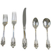 Wallace Grande Baroque Sterling Flatware 5 Pc Place Setting New In Package