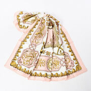 Secondhand A-dish Hermes Kare 90 Scarf Silk Pink White Women And039s