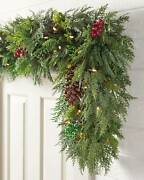 Balsam Hill Winter Evergreen Foliage 6' 2-pack Garland [clear Led]