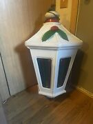 """Vtg Giant White Stained Glass Holiday Christmas Blow Mold City Light Up Lamp 34"""""""