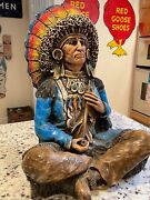 Large Chalkware Indian Native American Chief Antique Vintage Tobacco Trade Sign