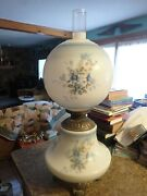 Antique Gone With The Wind Oil Lamp Hand Flowers Globe Light 28 Tall Chimney
