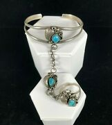 Vintage Sterling Silver Old Pawn Cuff Bracelet Chain Ring Turquoise Set Tribal
