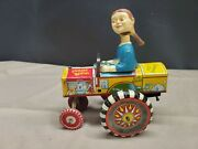 1940's Marx Dipsy Dora, Queen Of The Campus. Tin Wind Up Bobble Head Crazy Car.