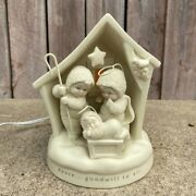 Vintage Dept 56 Peace And Goodwill To All 2003 Snow Babies Nativity Lamp