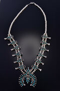 Vintage 26 Silver And Turquoise Zuni Squash Blossom Necklace Wytsa Lucy 1d20t