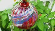Glass Eye Studio Hanging Ornament Red Glass Multi Swirls And Dots, 3.5, With Tag