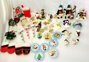 50 Vintage Christmas Ornaments Mixed Lot Of 14 Snowmen And 36 Other Misc.