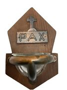 Antique Holy Water Font Catholic Cross Pax