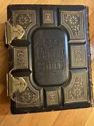 Antique Leather Pictorial Holmanand039s Edition Holy Bible - 1873 A.j. Hol Christianandnbsp