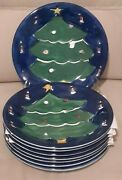 Gibson Designs Festive Blue Hand Painted Christmas Tree Dinner Plates Set Of 8