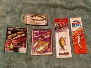 Vintage Lot Of 5 Fishing Lures Mixed Lot.4 Unopened Packages 1 With Original Box
