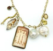 Chan Luu Sterling Silver 18k Gp Cameo Baroque Pearl Charm Necklace
