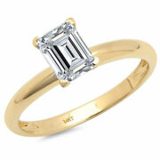 1 Ct Emerald Cut Real Certified Cultured Diamond 14k Yellow Gold Solitaire Ring
