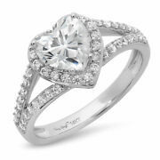 1.49 Ct Heart Cut Real Certified Cultured Diamond Real 18k White Gold Halo Ring