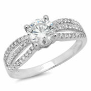 1.27 Ct Round Cut Genuine Certified Cultured Diamond Solid 18k White Gold Ring