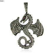 3.55ct Pave Diamond 18kt Gold 925 Sterling Silver Dragon Pendant Jewelry