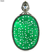 18k Gold 2.64ct Pave Diamond Moonstone Green Onyx Carved Pendant 925 Silver