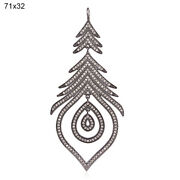 Natural 1.53ct Pave Diamond Antique Drop Pendant 925 Sterling Silver Jewelry