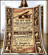 Baseball To My Son From Mom With Love Sherpa Blanket Funny Birthday Gift 2021