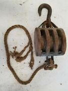 Antique Ship Triple Wood Tackle Block Steel Pulley Sheaves Wrought Iron Hook