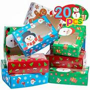 Christmas Cookie Boxes 20pcs Christmas Cookie Gift Boxes With Window Holiday