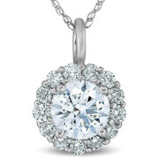 1 Ct Halo Diamond Pendant Necklace 18 14k White Gold 1/3 Inch Tall