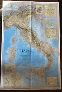 Vintage National Geographic Society Map Of Italy 1995. Unique Display Piece
