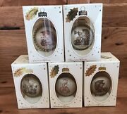 Lot Of 5 M.i. Hummel Glass Collectibles New In Box 2001/2002 Christmas Ornaments