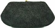Vintage 'bags By Josef' Black Beaded Clutch Purse Hand Beaded France Seed Beads