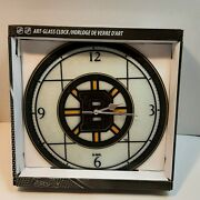 Boston Bruins Art Glass Clock By The Seagull Company 2008 Very Nice Nhl New