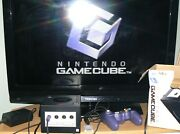 Nintendo Gamecube Console Dol-001 Black W/controller 1 Game And Memory Card