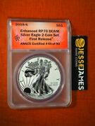 2019 S Enhanced Reverse Proof Silver Eagle Anacs Rp70 Dcam First Release W/ Ogp