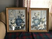 Pair Of Silver 1930s Wallpaper Remnants Art Pictures In Their Antique Frames