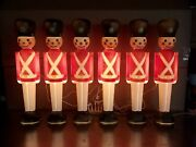 """Blow Mold Toy Soldiers Light Up General Foam Christmas Decoration 30"""" Lot Of 6"""