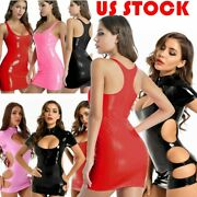 Us Womenand039s Bodycon Mini Dress Patent Leather Wet-look Cutout Dress Club Costume