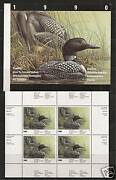 Canada Quebec Qu-3 Wildlife Conservation Stamp Sheet 1990 Loons