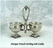 Antique French Sterling Open Salt Condiment Caddy