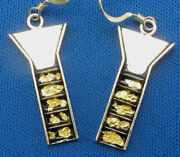 Stream Sluice Earrings Sterling Silver Pure Gold Flakes Pan Dredge Prospector