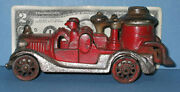 Authentic And Old Cast Iron Fire Pumper 6 1/2 2 Fireman Now On Sale Ci275