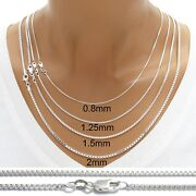 925 Sterling Silver Box Chain Necklace W/ Lobster Lock-stamped 925 Italy