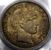 1908 Barber Head Dime Pcgs Ms-64 100 Original With A Rich Antique Golden Toning