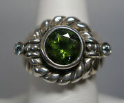 Estate Sale Sterling Silver Genuine Peridot And Blue Topaz Ladies Ring