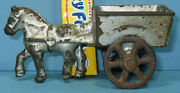 Authentic And Old Tiny Horse And Wagon 4 Long Cast Iron Toy Now On Sale T113